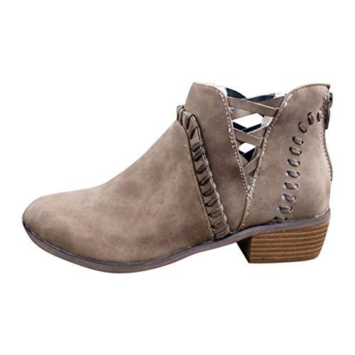 HDUFGJ Damen Stiefel Hohl Boots kurz Stiefeletten Chelsea Boots wasserdicht Outdoor Springerstiefel Winterstiefel Schneestiefel Reißverschluss Stiefeletten schneestiefel40 EU(Khaki)