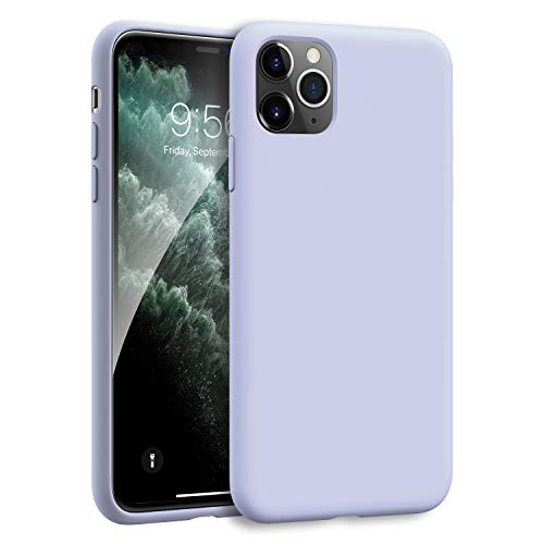 MXX iPhone 11 Pro Max Case Soft Liquid Silicone Gel Bumper Cover Anti-Scratch Microfiber Lining Hard Shell, Drop Shockproof Full-Body Protective Compatible with 11 Pro Max 6.5 inch (Lilac Purple)