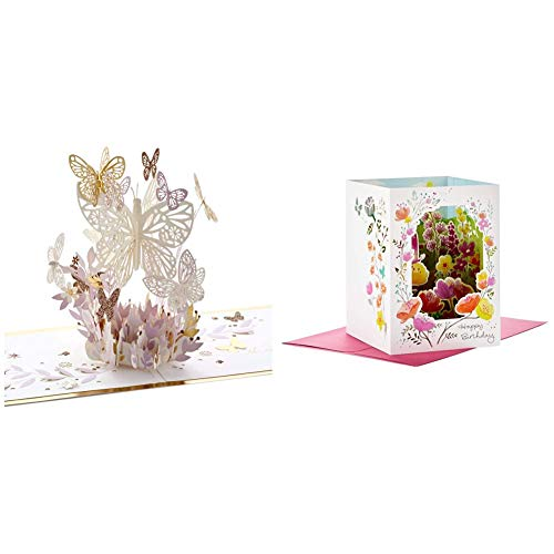 Hallmark Signature Paper Wonder Pop Up Card, Thankful for You (Thinking of You Card or Birthday Card) & Paper Wonder Paper Craft Birthday Card (Happy Surprises)