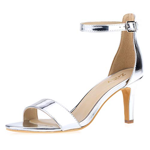 ZriEy Women's Heeled Sandals 3 Inches Strappy Silver Open Toe Stiletto High Heels Mid Heels Ankle Strap Fashion Bridal Party Wedding Pump Shoes Size 9