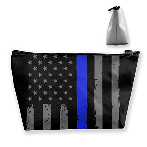 Blue Lives Matters Cosmetic Pouch Travel Makeup Bag Trapezoid Bag with Zipper Waterproof Storage Bag Portable Lightweight Toiletry Pouch Organizer Bag for Girls, Women
