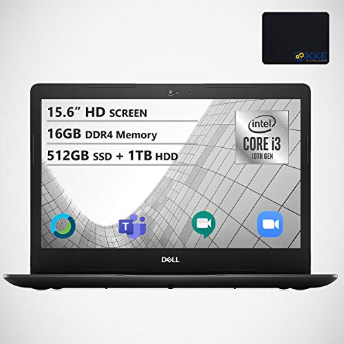 """Dell Inspiron 15.6"""" HD Laptop, Intel Core i3-1005G1 Processor, 16GB DDR4 Memory, 512GB PCIe Solid State Drive + 1TB HDD, WiFi, Webcam, Online Class Ready, HDMI, Bluetooth, KKE Mousepad, Win10 Home"""