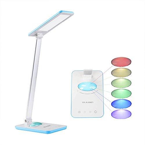 IDEALEBEN - Lampada LED da Tavolo con 7 livelli sfumature di luminosita'/ con luce notturna Multicolori di Arcobaleno/Controllo pannello a tocco/Timer Auto-Off 1 ora/Color Azzurro