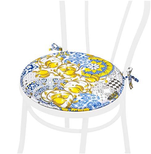 Cuscino Sedia Tondo Piastrella Maiolica Morbido Coprisedia Laccetti Universale Lavabile Mod.DALIA50E