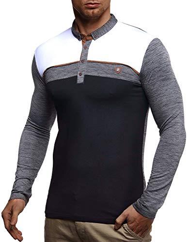 Leif Nelson heren sweatshirt poloshirt slim fit katoenaandeel basic mannen met lange mouwen zomer trui wit shirt met lange mouwen poloshirt zwart sweater pullover T-shirt lange mouwen LN4805