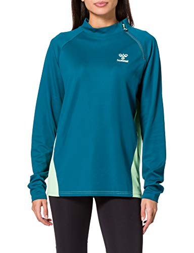 HUMMEL Womens HUMMEL ACTION HALF ZIP SWEAT WOMAN Sweatshirt, Blue Coral/Green ASH, XL