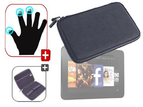 """DURAGADGET Housse étui résistant en EVA Rigide Noir + Gants capacitifs conducteurs Taille M (Moyen) pour Nouvelle Tablette Kindle Fire 7"""" d'Amazon – G"""