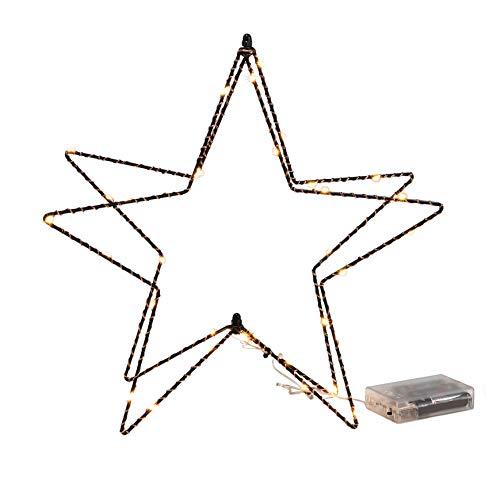 Weihnachts Deko Tischleuchte Stern 38 LED - 30 cm - Metall Fensterdeko Tischlampe Weihnachtsstern schwarz