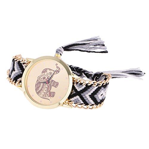 Nobranded Reloj de Pulsera Dorado con Trenzado de Lana Estilo Geneva Reloj de Pulsera con Elefante Y Atrapasueños - Oro 6