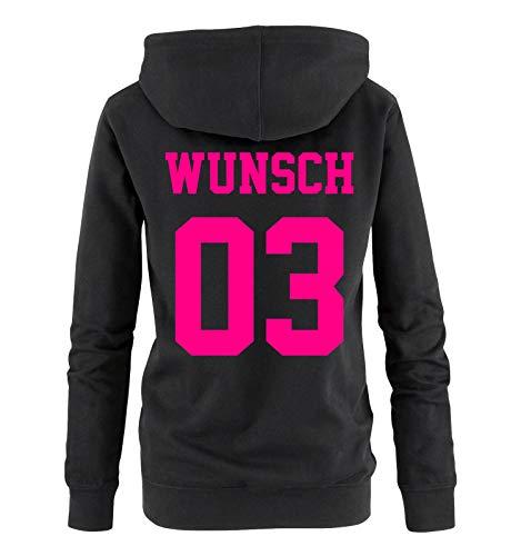 Comedy Shirts - Wunsch - Damen Hoodie - Schwarz / Pink - Gr. M