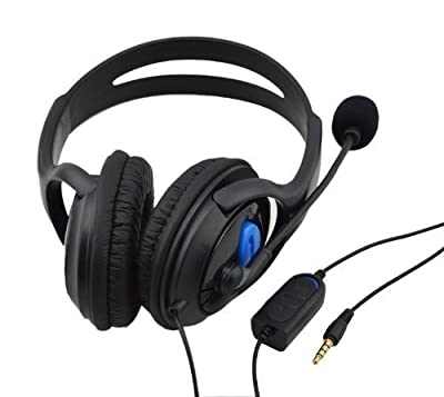 Jalex 3.5mm Port Premium Deluxe Large PS4 Headset/Headphone Live Stereo Headphone, Earphone, Headset with Microphone Mic, Foam ear piece for PS4 [PlayStation] (PS4-Black)