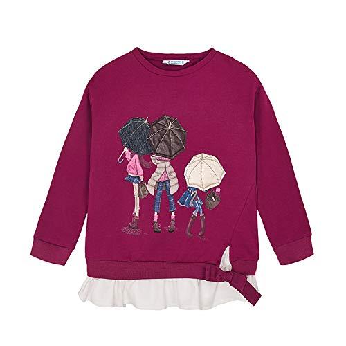 Mayoral Mädchen Sweatshirt Baumwolle Pullover 2 in 1, Größe:92, Farbe:Kirsch