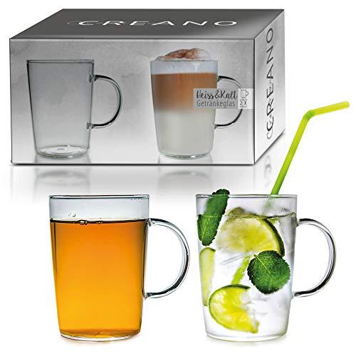 Creano 2er-Set Design Gläser, Becher mit Henkel für Kaffee, Tee und alle Kaltgetränke | 400ml im Geschenkkarton