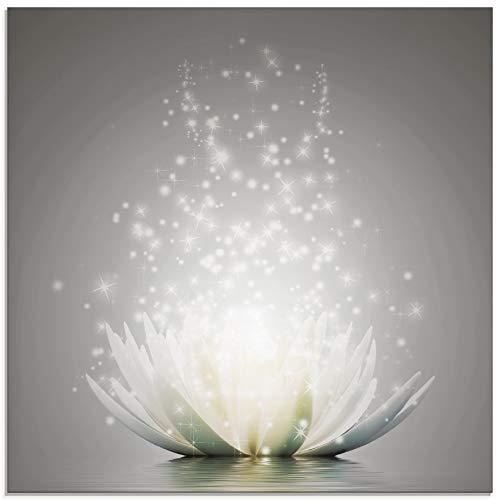 Artland Glasbilder Wandbild Glas Bild einteilig 50x50 cm Quadratisch Natur Botanik Blumen Lotusblume Seerose Abstrakt Glitzer Kunst S7FD