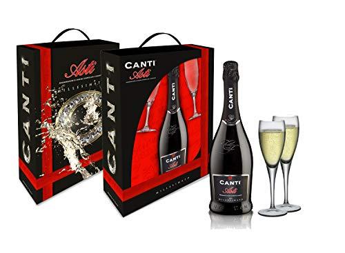 CANTI Asti DOCG Spumante + 2 Copas Vino Espumoso Dulce Italiano - 1 Botella X 750ml