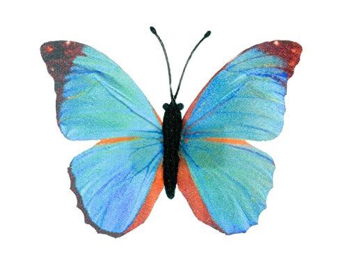 Miniblings Schmetterling Brosche blau Frühling Falter fliegen Textil Insekt - Handmade Modeschmuck I Anstecknadel Button Pins