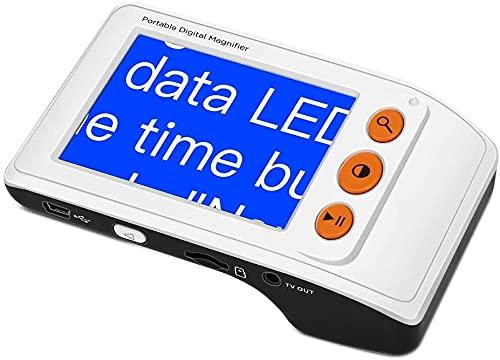 Lupa digital, ayuda a la lectura con lupa Video electrónico portátil Pantalla LCD de 3,5 pulgadas Lupa digital para baja visión Lectura de monedas Teléfono Tv Discapacitados visuales ( Color : White )