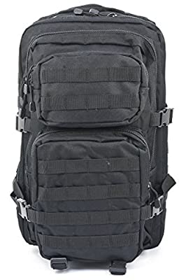 Mil-Tec Military Army Patrol Molle Assault Pack Tactical Combat Rucksack Backpack (Black, 36 Liter)