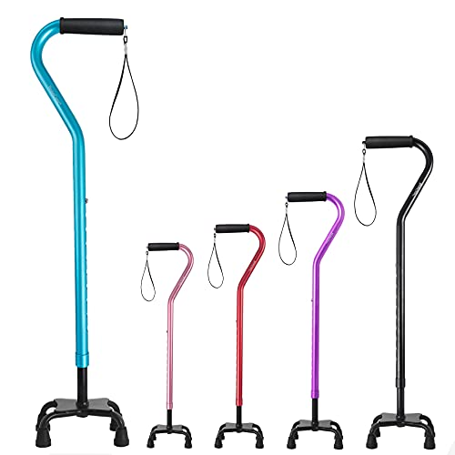 BeneCane Quad Cane Adjustable Walking Cane with Offset Soft Cushioned Handle for Men & Women Lightweight Comfortable with 4-Pronged feet for Extra Stability(Blue)