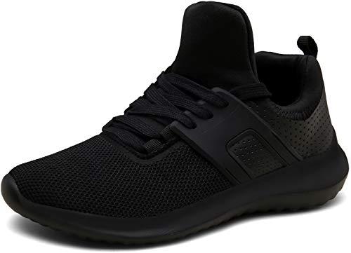 DENGBOSN Homme Femme Basket Chaussures de Course Running Sport Léger Fitness Sneaker,XZ666-black-EU41