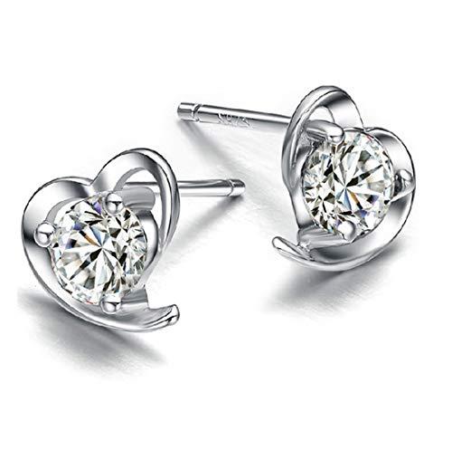 MapleMiss Anillos de oído - Pendientes del Amor del corazón del melocotón Pendientes Diamante Cobre Plateado geométrico Temperamento Pendientes