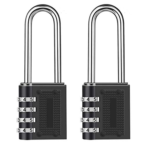 Combination Padlock Long Shackle Lock - 6.5cm Shackle Waterproof 4 Digit Resettable Combination Lock for School, Gym, Outdoor Shed Locker, Hasp Cabinet, Gate - 2 Pack
