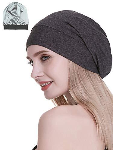 Satin Lined Sleep Cap Bamboo Slouchy Bonnet Headwear Curly Hair Beanie Dark Gray