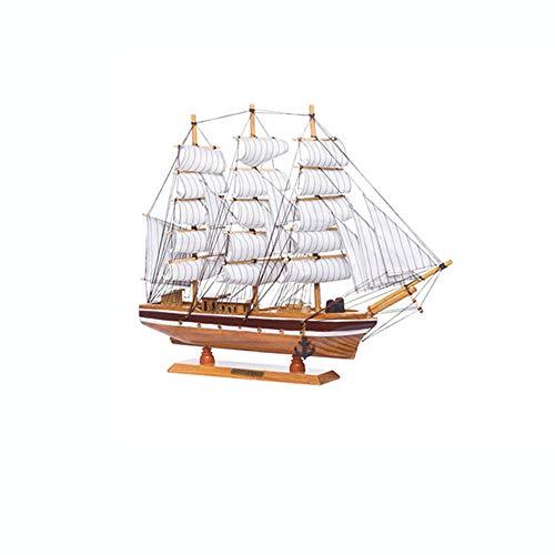 Guve Decorazione della casa della Barca a Vela, Stile Marino di Legno Ornamento di Modello Nautico Decorazione Domestica del Desktop,(L*W*H) 50 * 8 * 43cm
