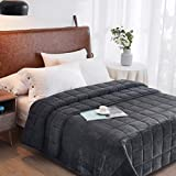 HomeSmart Sherpa Weighted Blanket King Size 25lbs 88x104 Dark Grey | Duel Sided - Super Soft Fleece Material on Top & Cozy Plush Sherpa Fabric on Other Side | Couples Blanket for California King Beds