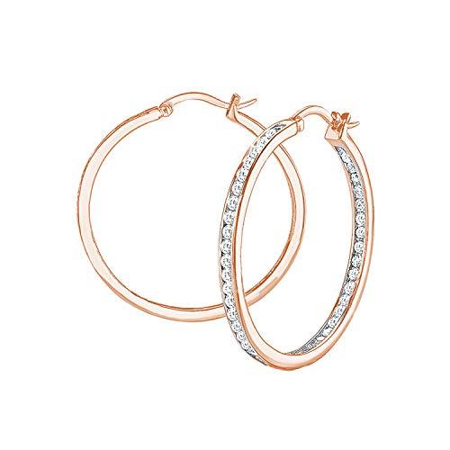 s.Oliver Pendientes de aro para mujer, plata 925 chapada en oro rosa con circonitas