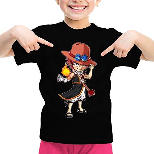 T-Shirt Enfant Fille Noir Fairy Tail - One Piece parodique Ace et Natsu : L'Ultime Dieu du Feu !! (Parodie Fairy Tail - One Piece)