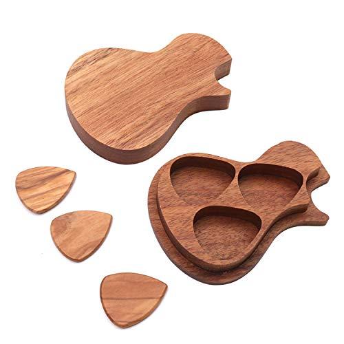 Muslady Caja de Púas de Guitarra de Madera con 3 piezas de Púas de Guitarra Accesorios de Guitarra de Madera