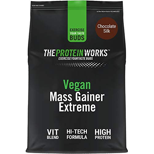 THE PROTEIN WORKS Vegan Mass Gainer Extreme | High Calorie Protein Powder | Weight Gainer | Vitamins & Minerals | Chocolate Silk | 1 kg