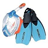 SEAC Set Unica Sprint, Snorkeling Kit Unica Full face mask Sprint Open Heel fins, Blue, XS-S