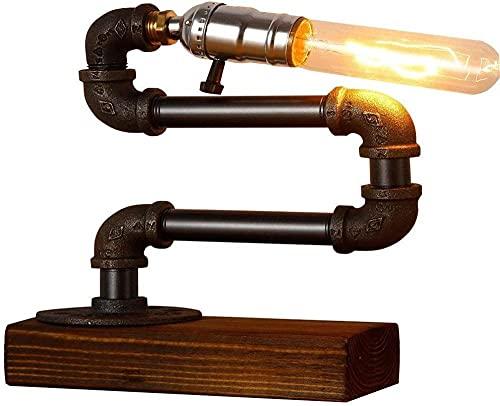 Lámpara de mesa de tubo de hierro forjado industrial retro Metal de madera Steampunk escritorio Lámpara de mesa de oficina Laboratorio de trabajo Dormitorio Sala de estar Decoración