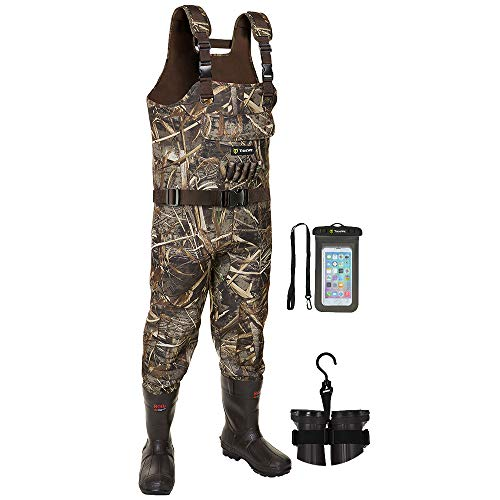 TIDEWE Chest Waders, Hunting Waders for Men Realtree MAX5 Camo with 800G Insulation, Waterproof Cleated Neoprene Bootfoot Wader, Insulated Hunting & Fishing Waders (Size 12)