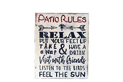 Unknow Patio Rules - Cartel de madera para terraza o jardín