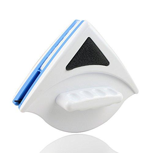 Moouuk - Cepillo magnético para limpiar vidrio con mango ergonómico, para limpiar la casa, para ventanas de gran altura y coches (azul)