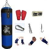 ZWJ Boxeo para Adultos Bolsa de perforación Accesorios para Colgar Ocho Pieza Set Blue Oxford Canvas Sandge Bolsa de Arena Kickboxing Muay Thai Home Equipment 60-120cm (Color : Blue, Size : 80cm)