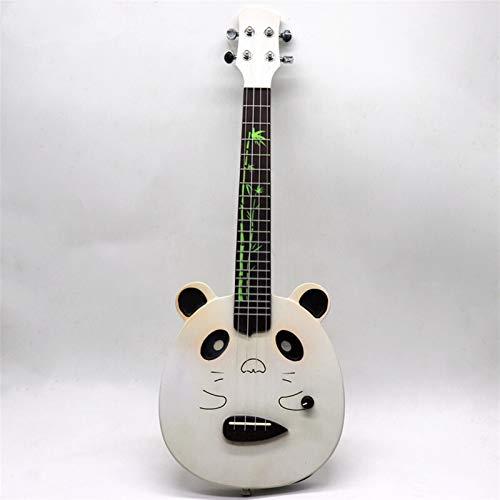 YSJJWDV Ukelele eléctrico de ukelele silencioso para guitarra, color blanco, 53,3 cm, 4 cuerdas, tamaño de 58,4 cm