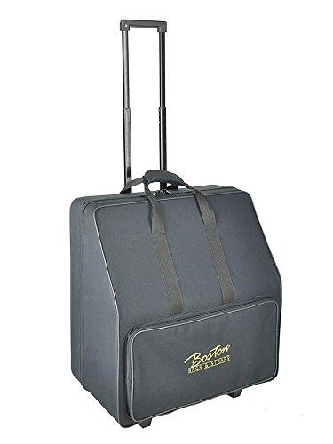 Boston 72-Bass Akkordeon Koffer/Trolley (Akkordeontrolley, Holzkern, weiche Plüsch-Polsterung, festes wasserabweichendes Oberflächenmaterial schwarz
