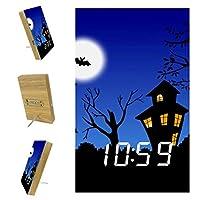 寝室用デジタル目覚まし時計キッチンオフィス3アラーム設定ラジオ木製卓上時計-ハロウィーン