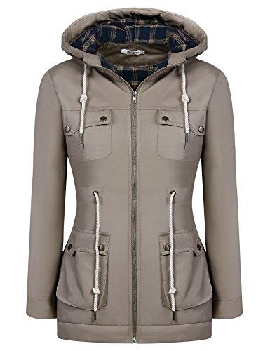 ELESOL Women's Military Hooded Warm Lined Parka Winter Anorak Jacket Coats Khaki L