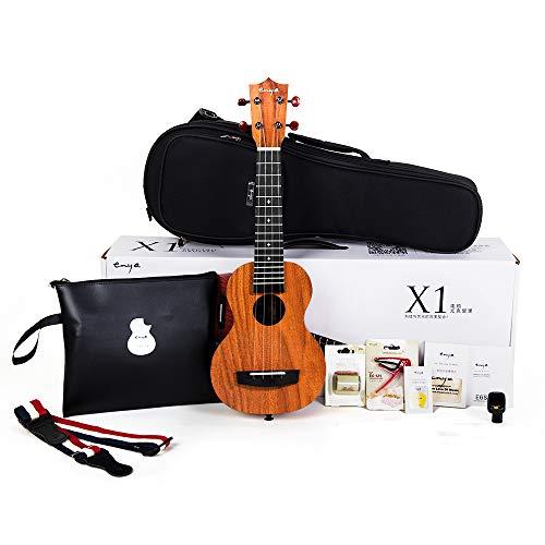 Official Enya EUS-X1 Soprano Ukulele 21 inch HPL Starter Kit with Online Lessons, Padded Gig bag,String,Tuner,Strap,Capo,Picks,Polishing cloth