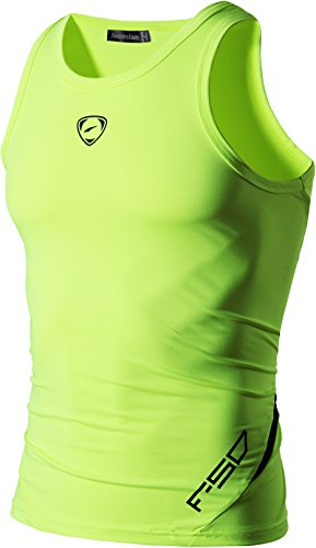 jeansian Herren Sportswear Quick Dry Sleeveless Sports Tank Tops LSL3306 GreenYellow L
