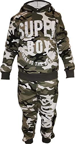 Army Camouflage Navy Jungen Kinder Kapuzenpullover Jogging Training Sportanzug Fitness Jogginhose (140-146)