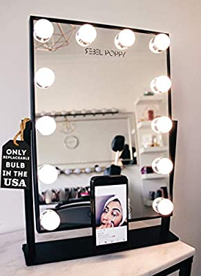 Vanity Mirror With Lights and Phone Mount - Hollywood Style Makeup Vanity Mirror with Lights 12x3W Dimmable LEDs with Touch Control, Phone Cradle | Tabletop Lighted Cosmetic Mirrors