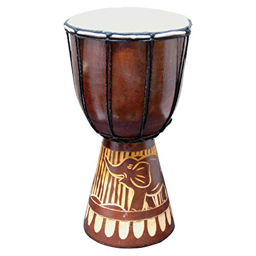 Djembe Drum Carved Bongo African inspired music beginners for kids and adults also a unique gifting idea. Carver Abstract Elephant Giraffe Turtle. (12 Inch, Elephant)