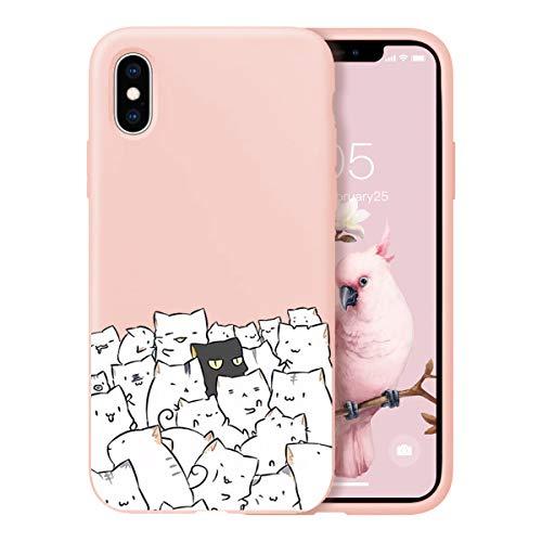 Suhctup Newest Conception de Modèle Couleur Coque iPhone XS Max [Coque Silicone Liquide] [Ultra-Mince] Anti-Rayure, Housse Protection Complète du Corps Silicone Gel Case iPhone XS Max