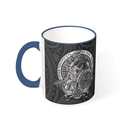 WOSITON Vikingo odin Home and Kitchen - Taza de té con pintura para el hogar y el lavavajillas, regalo para amigos con capacidad de 11 onzas azul medianoche 330 ml